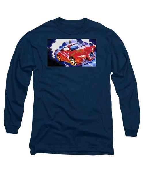 Long Sleeve T-Shirt featuring the painting Chubby Car Red by Catherine Lott
