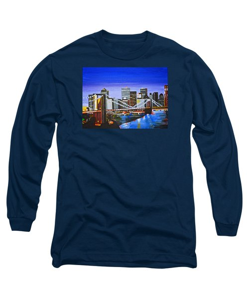 Long Sleeve T-Shirt featuring the painting City At Twilight by Donna Blossom