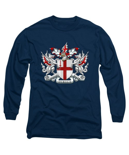City Of London - Coat Of Arms Over Blue Leather  Long Sleeve T-Shirt