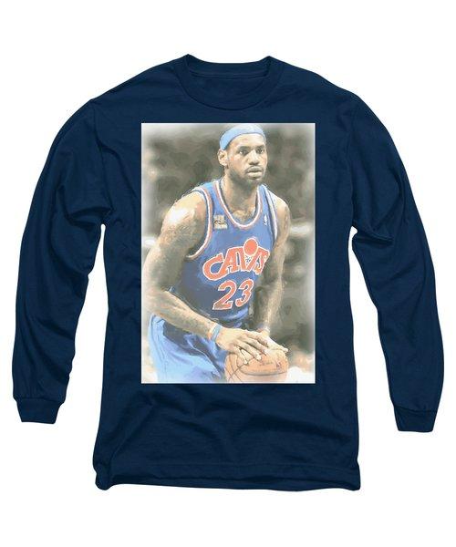 Cleveland Cavaliers Lebron James 1 Long Sleeve T-Shirt by Joe Hamilton