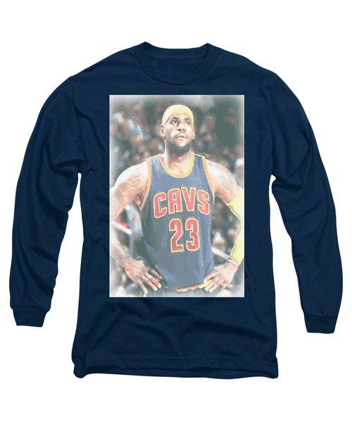 Cleveland Cavaliers Lebron James 5 Long Sleeve T-Shirt by Joe Hamilton