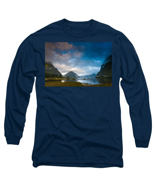 Cloudy Morning At Milford Sound At Sunrise Long Sleeve T-Shirt by Ulrich Schade