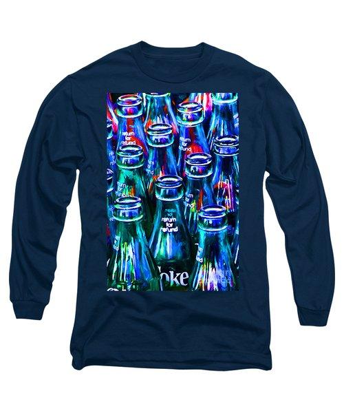 Coca-cola Coke Bottles - Return For Refund - Painterly - Blue Long Sleeve T-Shirt