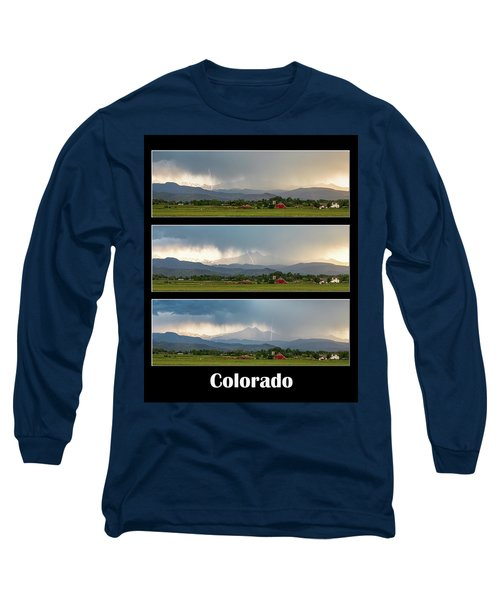 Long Sleeve T-Shirt featuring the photograph Colorado Front Range Longs Peak Lightning And Rain Poster by James BO Insogna