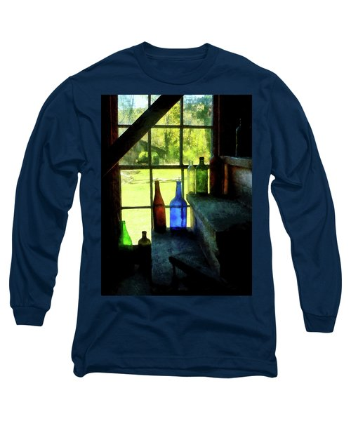 Long Sleeve T-Shirt featuring the photograph Colored Bottles On Steps by Susan Savad
