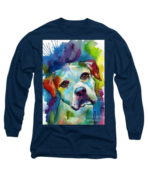 Colorful American Bulldog Dog Long Sleeve T-Shirt by Svetlana Novikova