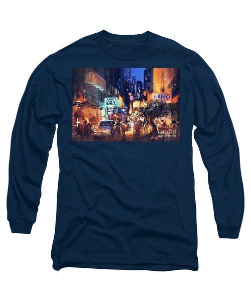 Colorful Night Street Long Sleeve T-Shirt
