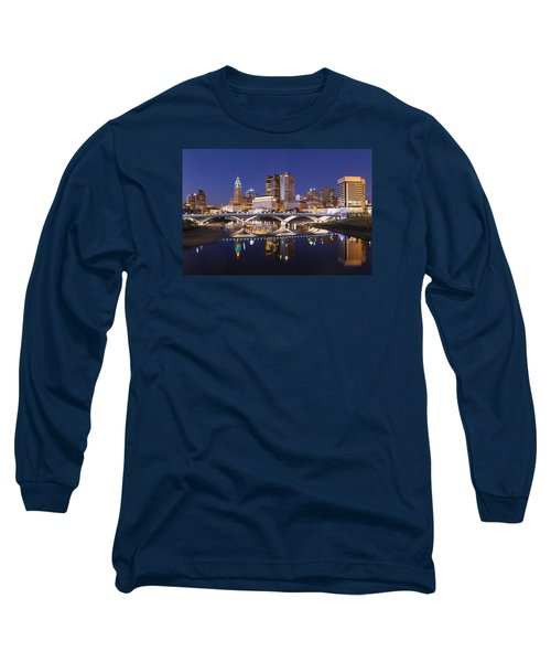 Columbus Skyline Reflection Long Sleeve T-Shirt by Alan Raasch