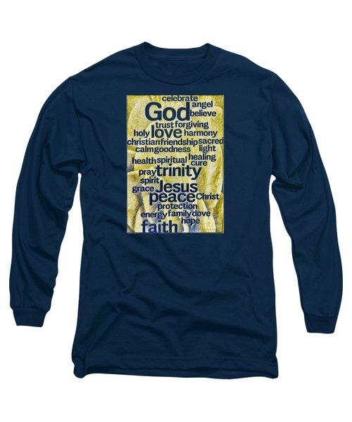 Comfort Words Long Sleeve T-Shirt by Jean OKeeffe Macro Abundance Art
