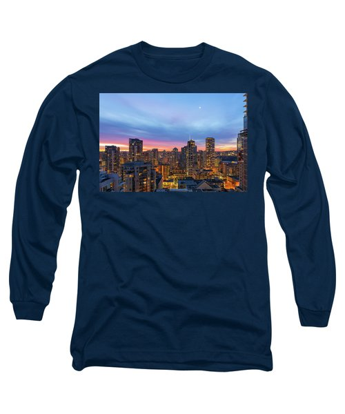 Condominium Buildings In Downtown Vancouver Bc At Sunrise Long Sleeve T-Shirt