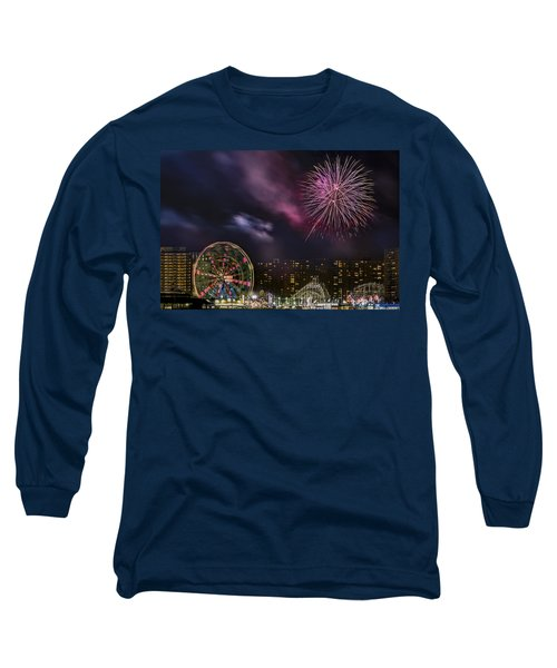 Long Sleeve T-Shirt featuring the photograph Coney Island Fireworks by Susan Candelario