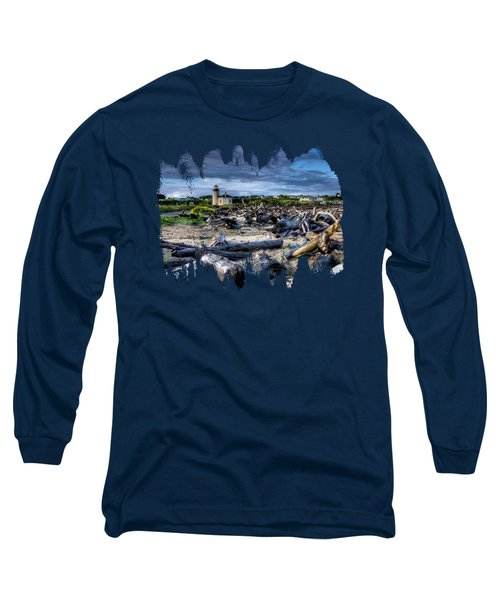 Coquille River Lighthouse And Driftwood Long Sleeve T-Shirt