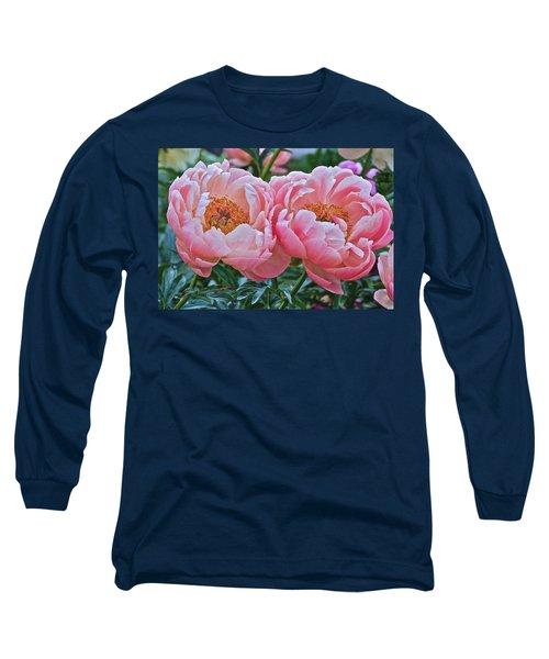 Coral Duo Peonies Long Sleeve T-Shirt