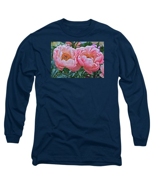 Coral Duo Peonies Long Sleeve T-Shirt