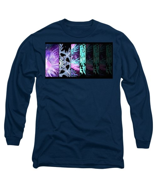 Long Sleeve T-Shirt featuring the mixed media Cosmic Collage Mosaic Left Side Flipped by Shawn Dall