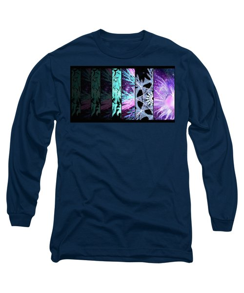 Long Sleeve T-Shirt featuring the mixed media Cosmic Collage Mosaic Left Side by Shawn Dall