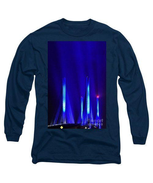 Long Sleeve T-Shirt featuring the photograph Blue Light Rays - Indian River Inlet Bridge by Kim Bemis