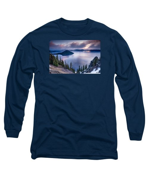 Crater Lake Spring Morning Colors Long Sleeve T-Shirt by Greg Nyquist