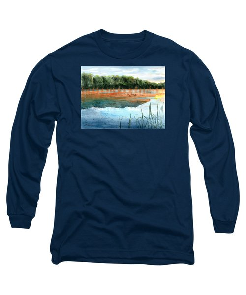 Long Sleeve T-Shirt featuring the painting Crawford Lake Morning by LeAnne Sowa