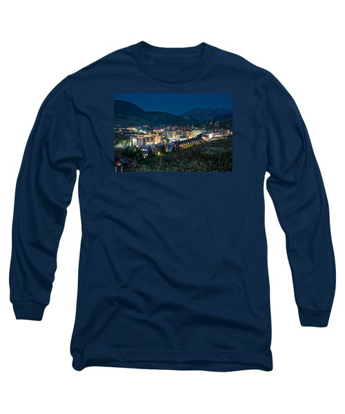 Crested Butte Village Under Full Moon Long Sleeve T-Shirt by Michael J Bauer