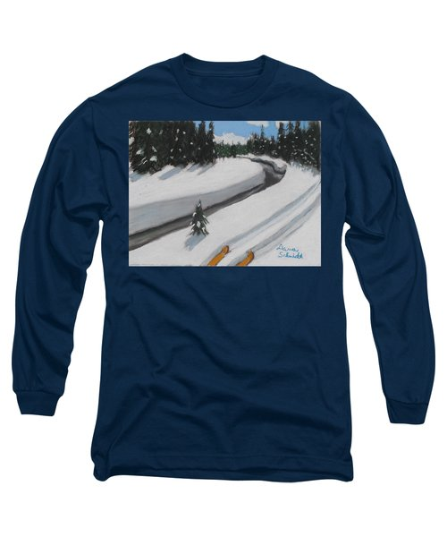 Cross Country Skiing Lone Star Geyser Trail In Yellowstone Nat. Park Long Sleeve T-Shirt