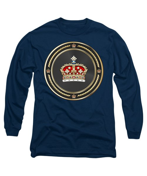 Crown Of Scotland Over Blue Velvet Long Sleeve T-Shirt