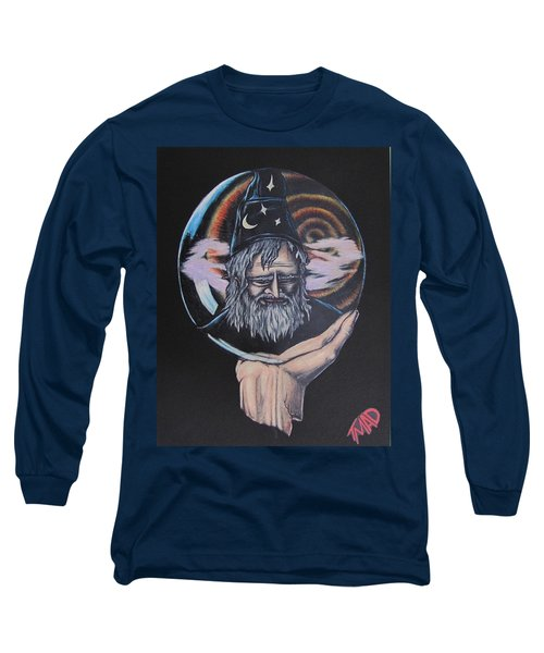 Long Sleeve T-Shirt featuring the drawing Crystal Wizard by Michael  TMAD Finney
