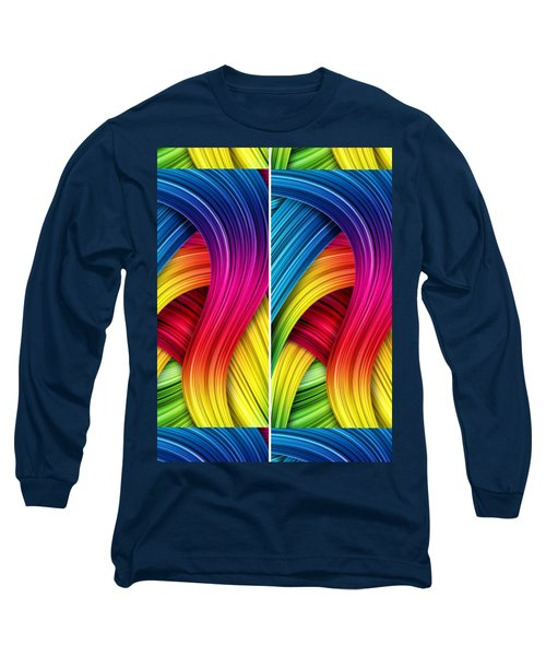 Curved Abstract Long Sleeve T-Shirt