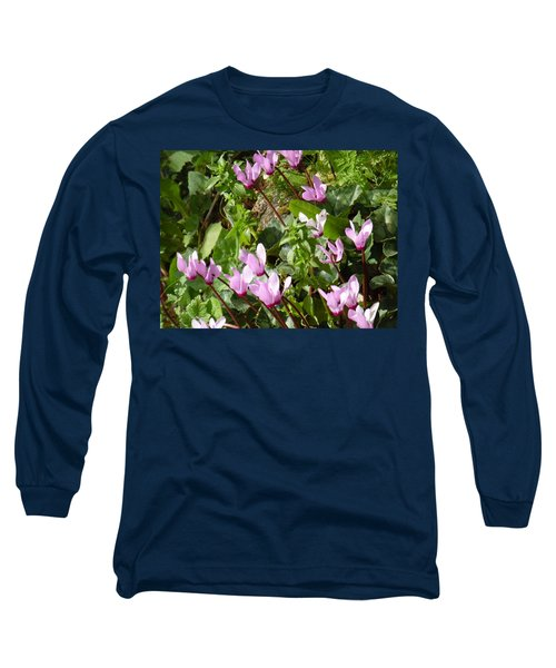 Cyclamen In Spring Long Sleeve T-Shirt by Esther Newman-Cohen