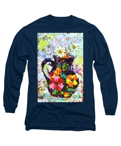 Daisies In The Portuguese Jug Long Sleeve T-Shirt by Lynda Cookson