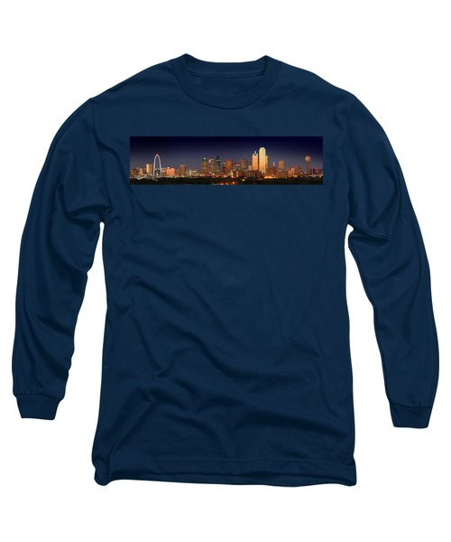 Dallas Skyline At Dusk  Long Sleeve T-Shirt by Jon Holiday