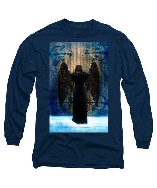 Dark Angel At Church Doors Long Sleeve T-Shirt by Jill Battaglia