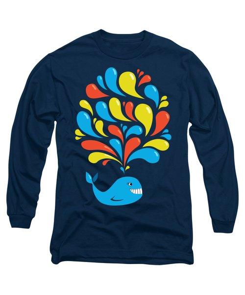 Dark Colorful Splash Happy Cartoon Whale Long Sleeve T-Shirt by Boriana Giormova