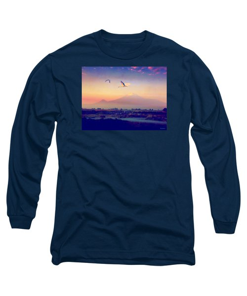 Long Sleeve T-Shirt featuring the photograph Dawn With Storks And Ararat From Night Train To Yerevan by Anastasia Savage Ealy