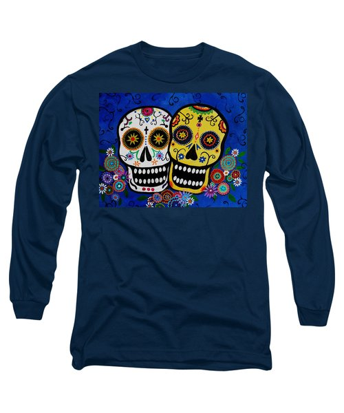 Long Sleeve T-Shirt featuring the painting Day Of The Dead Sugar by Pristine Cartera Turkus