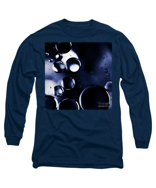 Long Sleeve T-Shirt featuring the photograph deep purple blue tones Macro Water Droplets by Sharon Mau