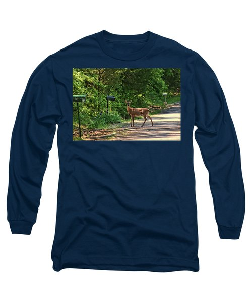 Deer Loves Flowers Long Sleeve T-Shirt by Rick Friedle