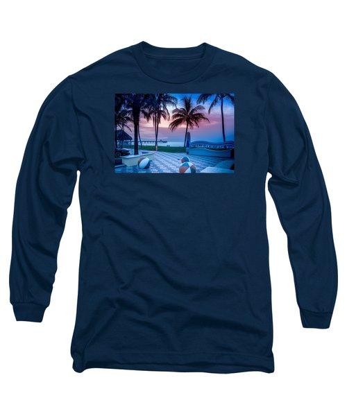 Deerfield Beach Fl Fishing Pier Long Sleeve T-Shirt by Louis Ferreira
