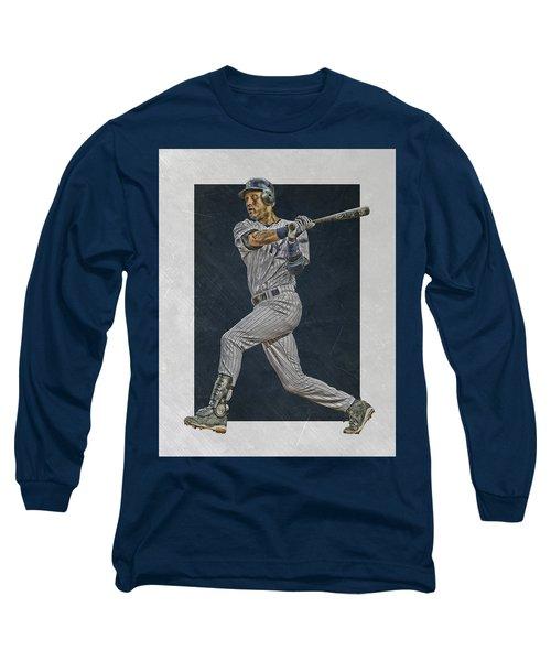 Derek Jeter New York Yankees Art 2 Long Sleeve T-Shirt by Joe Hamilton
