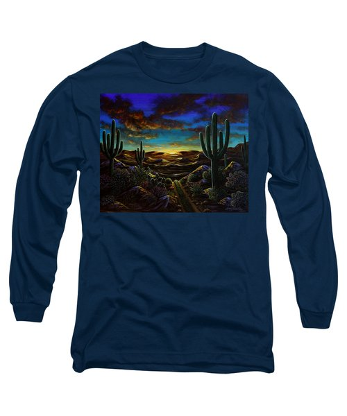 Long Sleeve T-Shirt featuring the painting Desert Trail by Lance Headlee