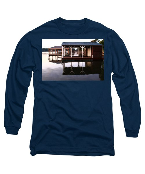 Dock Reflections Long Sleeve T-Shirt by Catie Canetti