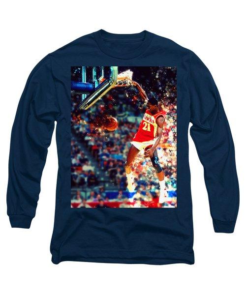 Dominique Wilkins - Nba Legend Long Sleeve T-Shirt