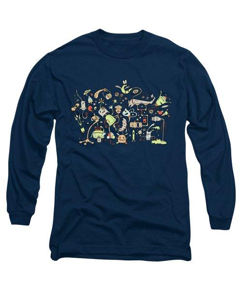 Doodle Bots Long Sleeve T-Shirt by Dana Alfonso