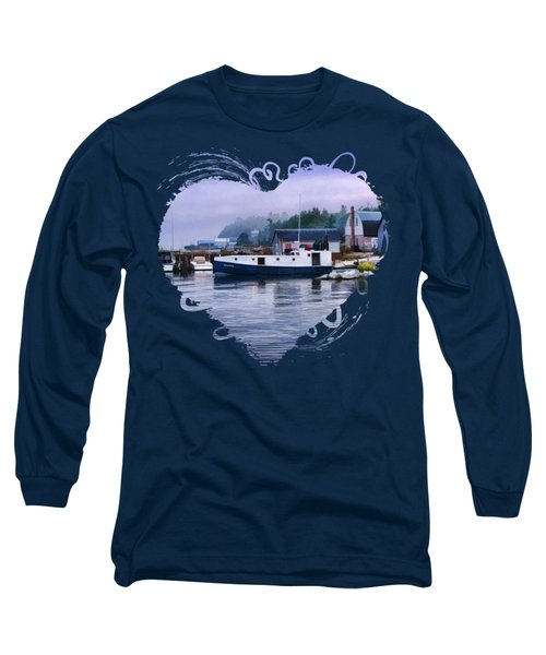 Long Sleeve T-Shirt featuring the painting Door County Gills Rock Fishing Village by Christopher Arndt