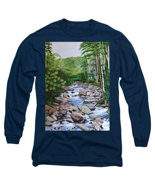 Down Stream  Long Sleeve T-Shirt by Marilyn McNish
