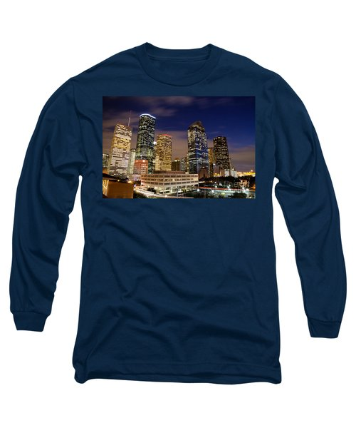 Downtown Houston At Night Long Sleeve T-Shirt