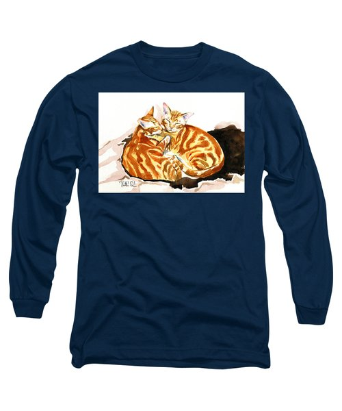 Dreaming Of Ginger - Orange Tabby Cat Painting Long Sleeve T-Shirt