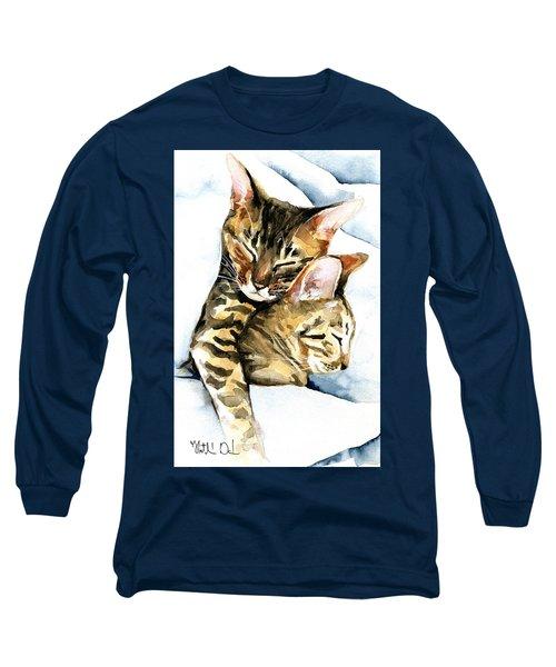 Dreamland - Bengal And Savannah Cat Painting Long Sleeve T-Shirt