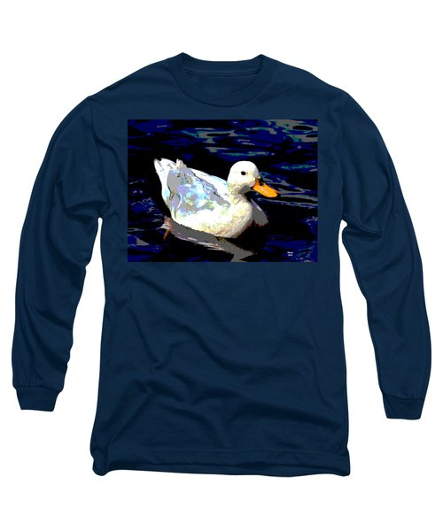 Long Sleeve T-Shirt featuring the mixed media Duck In Water by Charles Shoup