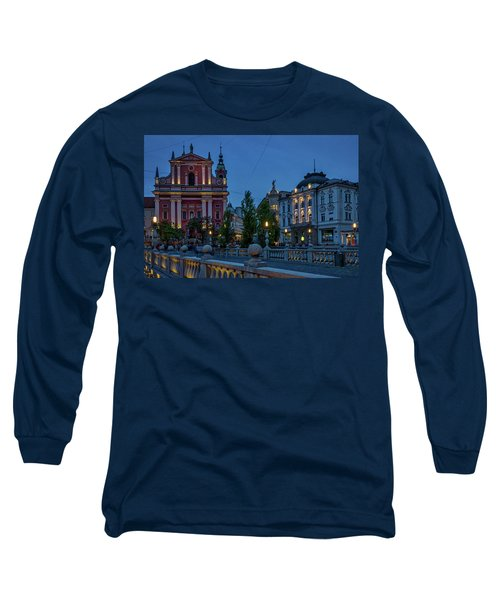 Long Sleeve T-Shirt featuring the photograph Dusk At The Triple Bridge - Slovenia by Stuart Litoff